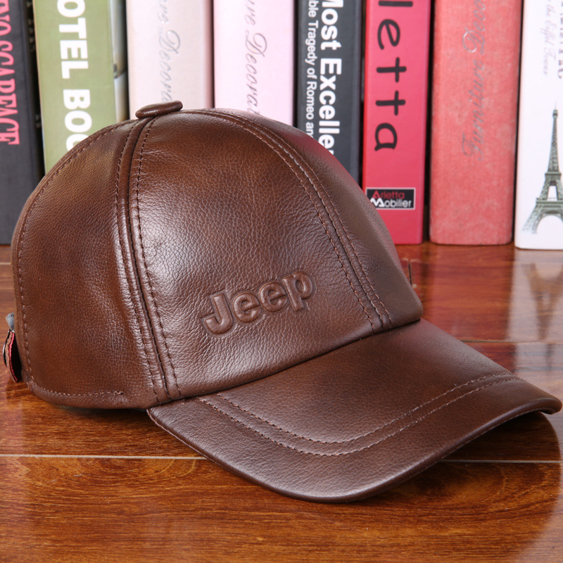 2017 New Genuine Leather Hat Male Cowhide Autumn Winter Casual   Cap   Adult Thermal Middle Age   Baseball     Cap   Hat for Man B-7251