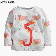 Little maven children brand clothing 2017 spring fashion girls cotton long sleeve O-neck bird number 5 print t shirt CT042
