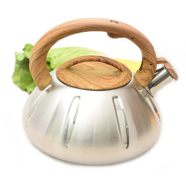 3l 304 Stainless Steel And Nature Wood Burning Water Kettle Capacity Gas Stove Bottle Opening