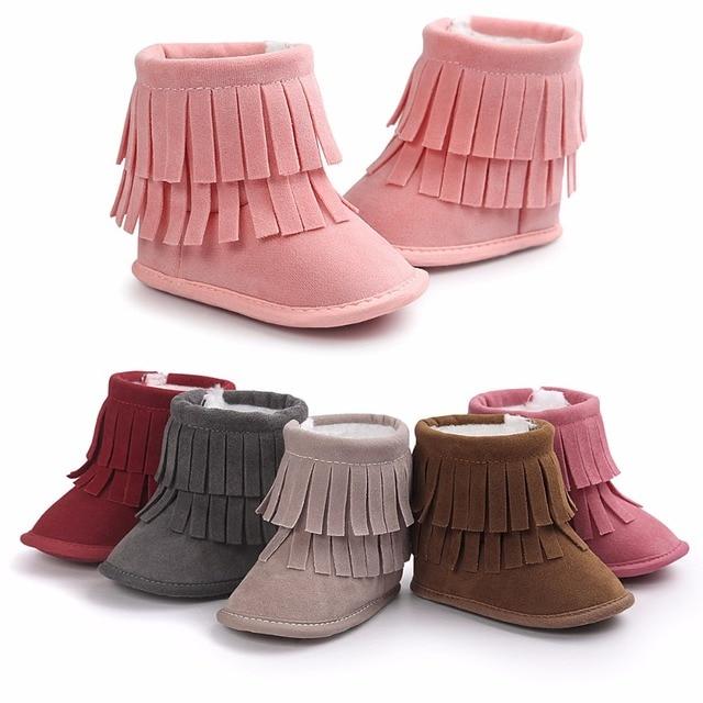 c1a59b9d9 2017 Crib Shoe Knitting Hand made Fleece Snow Boots For Baby Girl ...