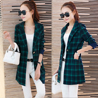 2016 Spring Office For Women Korean Slim Red Plaid Suit Large Size And Long Sections Leisure