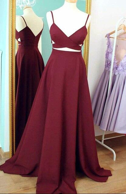 Sexy Borgonha Prom Vestidos Longos 2019 Vestidos V Neck Cintas de Espaguete  Simples Elegante Adolescentes Formais 60de1f76aeaa