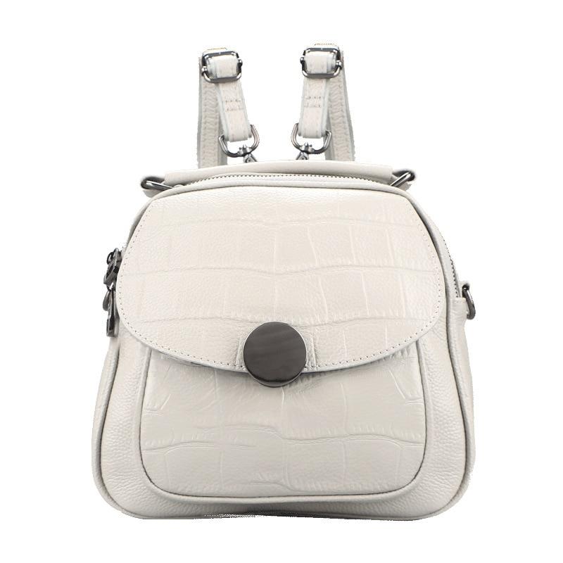 2019 nouveau luxe mode en cuir véritable femmes sac à dos nouveau sauvage femme sac à bandoulière blanc en cuir de vachette dames petits sacs à dos - 4