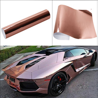 Car Body Rose&Gold Stretchable Chrome Film Air Release Technology Wrap Car Vehicle Self adhesive Sticker DIY Decals 0.5x3m
