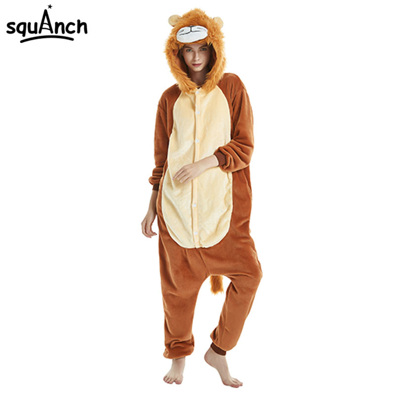 5d12d62710dc Animal Brown Lion Kigurumi Onesie Cartoon Soft Flannel Pajama Women Adult  Sleepwear Winter Warm Jumpsuit Hooded Funny Party Suit