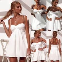 Женское Оригинальное белое платье летнее плиссированное с открытой