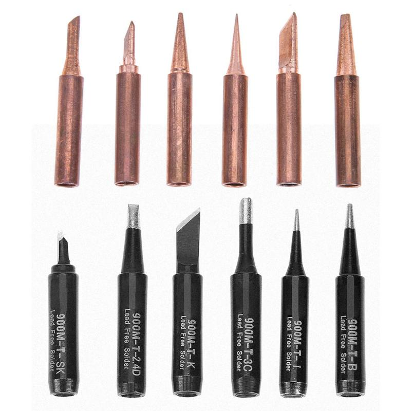 6pcs Pure Copper Iron Tip Soldering Nozzle 900M-T Gold Black Rework Solder Station Soldering Tips Soldering Accessories