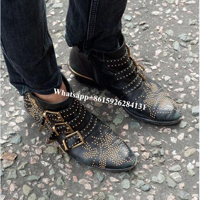 Choudory Combate Cuadrado Botines En Punta Tachonado as Tacón Lujo Negro Nueva Susanna Pic Moda Zapatos As De Pic Hebilla Mujer Botas Elegante T6qwTArpn