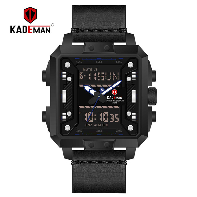 da8249730e85 KADEMAN New Square Watch Men TOP Brand Luxury Dual Display Wrist Watch  Waterproof Sports Military Male Watches Relogio Masculino