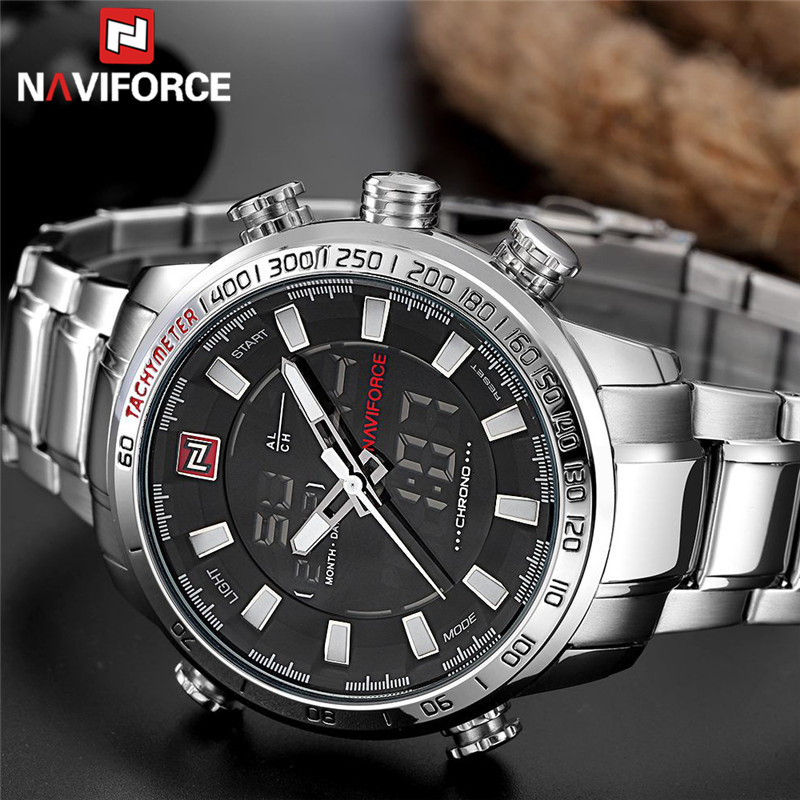 Digital Analog Sport Wristwatch Military Stainless Steel Male Clock  9093
