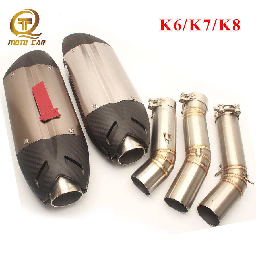 Escape Moto Motorcycle Exhaust Muffler 51MM Link Pipe Mid Tube Connector For Suzuki K6 K7 K8
