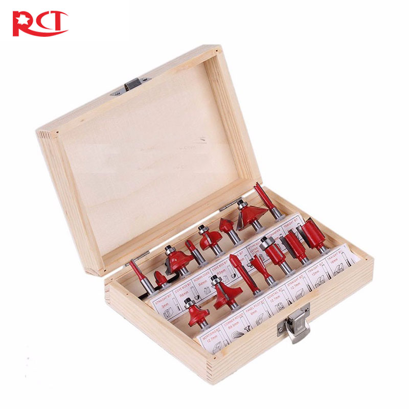 15pc 1/4-1/2  Router Bit Set Shank Tungston Carbide Rotary Tool Wood Woodworking high grade carbide alloy 1 2 shank 2 1 4 dia bottom cleaning router bit woodworking milling cutter for mdf wood 55mm mayitr
