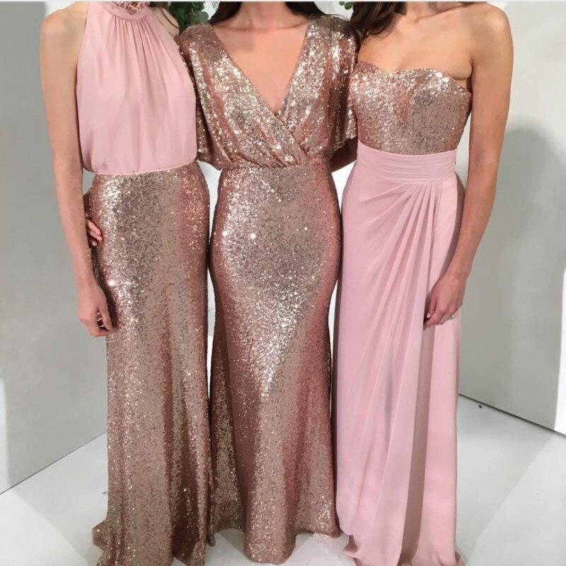 Luminoso Tres Estilos Una Línea de Lentejuelas Vestidos de dama de ...