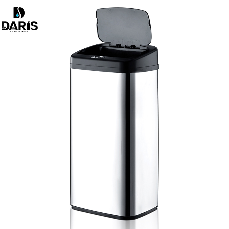 Rectangular Shape 40Litre Automatic Touchless Stainless Steel Automatic Smart Infrared Motion Sensor Waste Bin Kitchen Trash