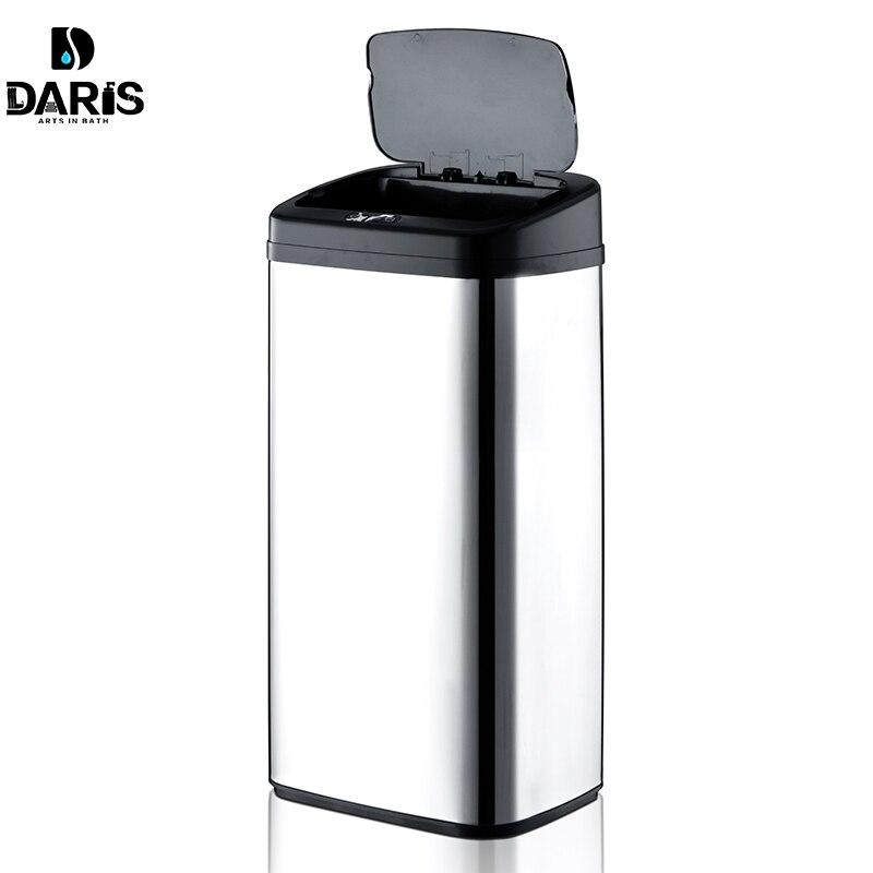 Forme rectangulaire 40 litres automatique sans contact en acier inoxydable automatique intelligent capteur de mouvement infrarouge poubelle cuisine poubelle