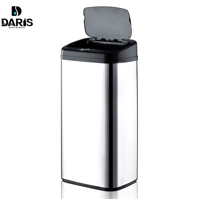 Rectangular Shape 40Litre Automatic Touchless Stainless Steel Automatic  Smart Infrared Motion Sensor Waste Bin Kitchen Trash Can