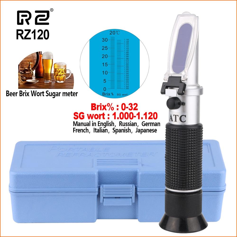 RZ Refractometer Alcohol Beer Meter Sugar Specific Gravity Tester Handheld Portable Brix 0-32% Auto Refractometer Wine RZ120
