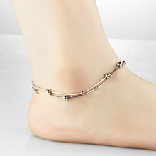 Silver Color Gold Plated 2016 Love New Fashion Anklet Bracelet Foot Jewelry Beads Chian Anklets Nice Gift For Women Girl