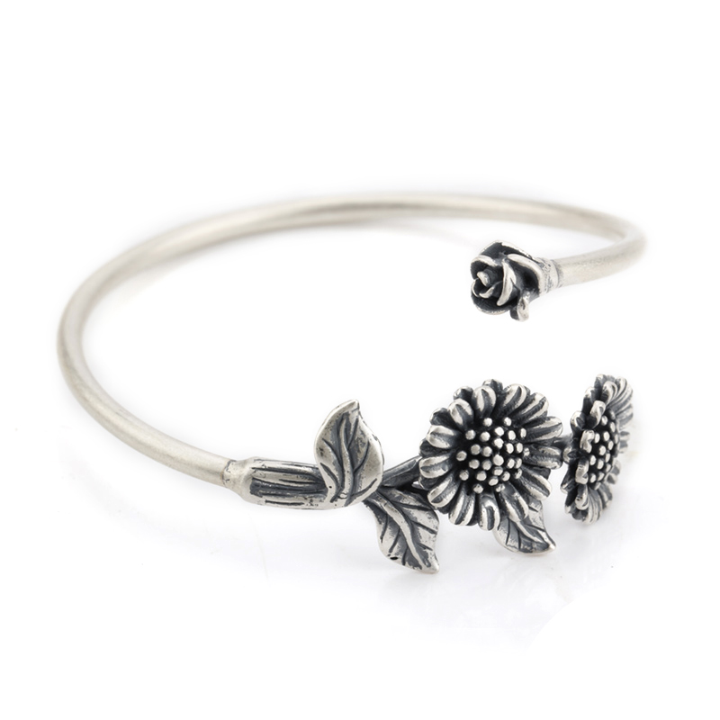 925 Sterling Silver Cuff Bangle for Women Jewelry European Style Bracelets with Silver Sunflower soqmo bamboo shape 100% 925 sterling silver cuff bangle for men women simple fashion style bracelets novelty handmade jewelry