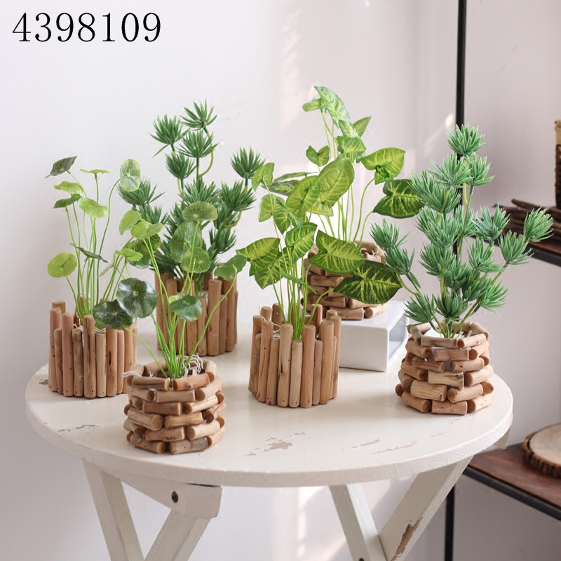 Simulation potted plant green plant potted ornaments Nordic style Japanese style simulation plant small bonsai green fake plants