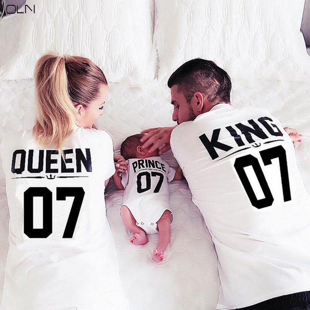 78b7e8ed4d2 OLN King Queen T-shirt Plus Large Size White Printed Letter Baby Girl  Couple Shirt Cotton Short Sleeve Female Tshirt Male