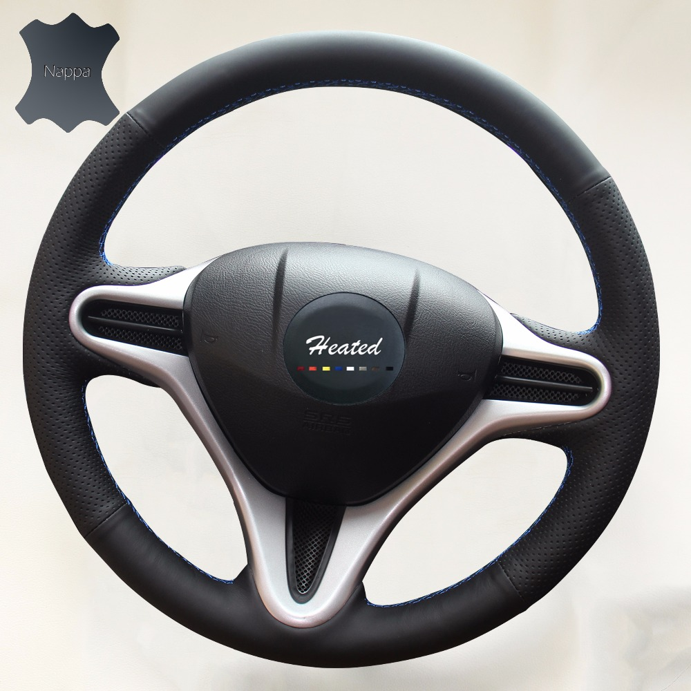 Luxury hand sewing nappa leather on car steering wheel cover for honda fit 2009 2013 city jazz