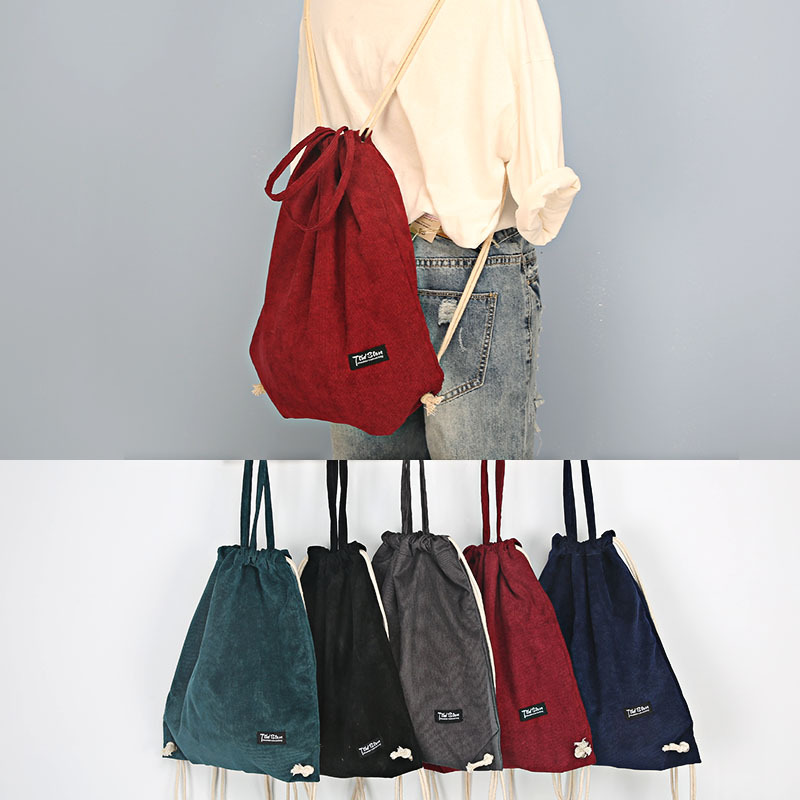 ec908d81a1 YILE Solid Color Corduroy Drawstring Travel Backpack Student Book Bag 5  Colors ZT9-28