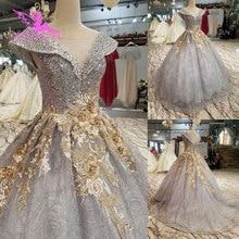 AIJINGYU הטוב ביותר שמלות כלה ארוך לבן עם מחוך אוקראינה גליטר Weddingss סאטן שמלות נסיכת כלה שמלה