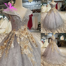 AIJINGYU meilleures robes de mariée longue blanche avec Corset Ukraine paillettes mariage Satin robes princesse robe de mariée
