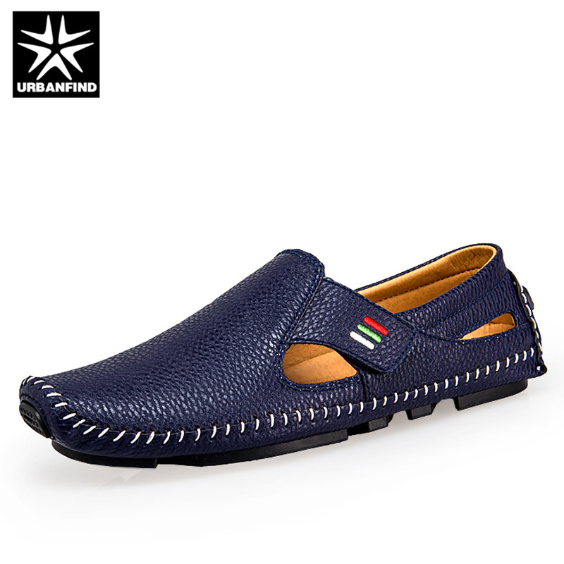 URBANFIND Plus Size 37-47 Brand Fashion Men Leather Loafers Sandals Spring Summer Footwear Casual Man Slip-on Driving Shoes