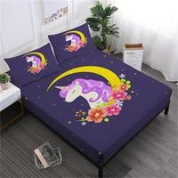 Dreamlike Cartoon Unicorn Sheet Set Moon Floral Print Fitted Sheet Girls Bedding Bed Linens Flat Sheet Pillowcase Home Decor