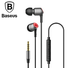 Best price BaSeus in-ear wired earphones Stereo Bass Ear Phones Headset Microphone Earphone With Mic For Phone Xiaomi Sony Mp3