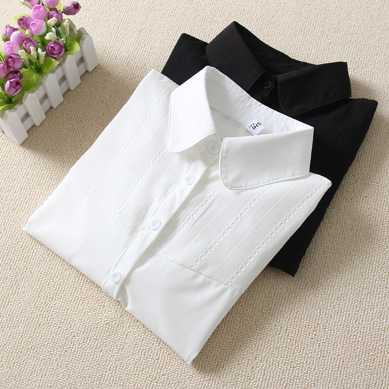 2018 white Tamaño Algodón Caliente Blanco Cuello Larga Oficina Botón Camisa T89301f Nuevo De White Manga Shirt Cotton Blusa Señora Más 3xl Ropa Shirt Femenina rBqArw4F