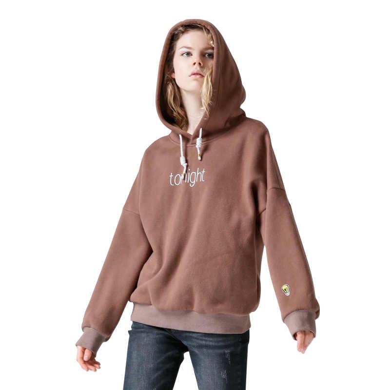 Toyouth ארוך שרוול חולצות סתיו נשים מזדמן מכתב Sweatershirt הדפסת מצחיק בסוודרים רקמת Loose נים חולצות