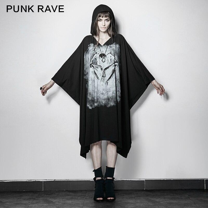PUNK RAVE Femmes Noir Crâne T-shirt imprimé Mode Lâche Manches Chauve-Souris T-shirt À Capuche Punk Rock Femmes Sweat