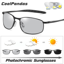 New HD Driving Small Lens Polarized Photochromic Sunglasses Men Chamel