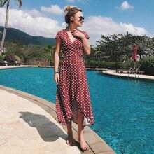 Fashion Sexy V Neck Wave Point Print Women Boho Chiffon Maxi Beach Long Dress