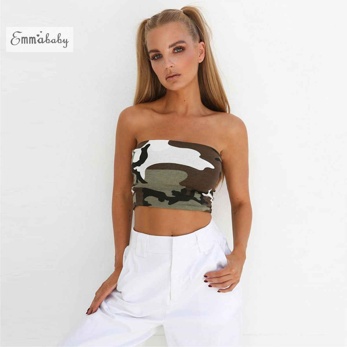 aa7f7ac4f8 New Womens Ladies Sleeveless Tank Tops Plain Printed Boob Tube Strapless  Bandeau Stretch Vest Ladies Camo