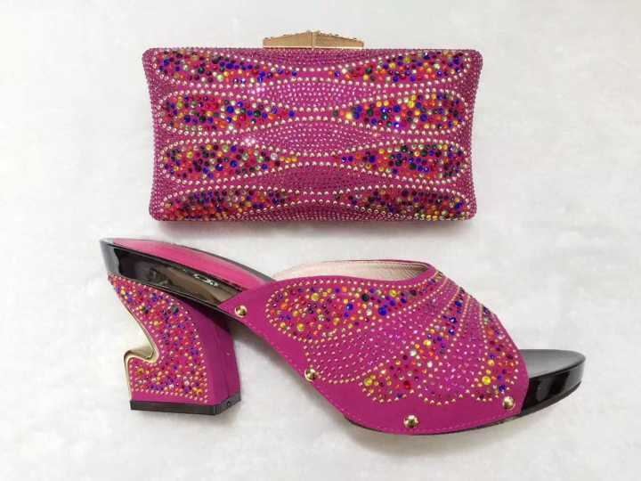 ФОТО 2017 Fashion Ladies Shoes And Bag For Wedding With Stones High Quality Italian Shoes And Matching Bag Set For Party TT03