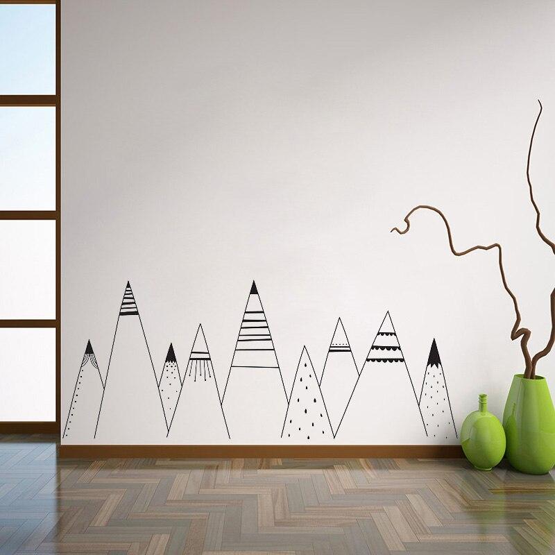 Рисунком горы настенные лесной племенных стены Стикеры для детских Kid детская комната Настенный декор украшения дома Книги по искусству ро...