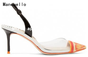 ФОТО Summer Style Orange Print Pointed Toe High Heel Sandals Slingbacks Women Sandals 2017 Transparent Sandalias Mujer Women Shoes