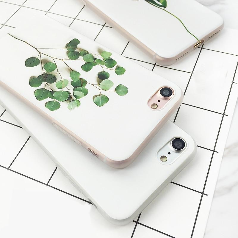 USLION Simple Plant Paint Phone Case For iPhone  6 6s 6Plus 6s Plus Flowers Leaves Soft TPU Back Cases Cover Case Capa Fundas