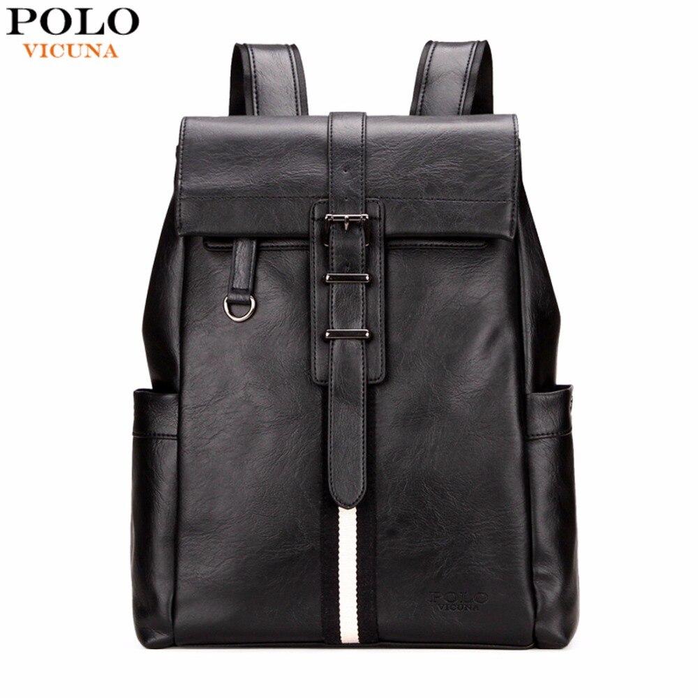 Викуньи поло элегантный дизайн простой полосатый Дизайн кожа человек рюкзак унисекс Колледж школьный рюкзак черный ноутбук рюкзак Mochila
