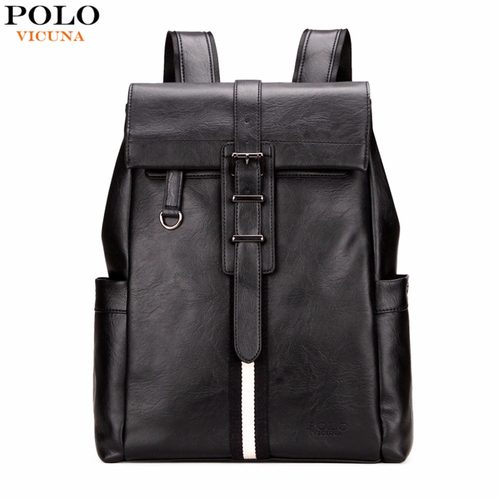 VICUNA POLO Preppy Style Simple Striped Design Leather Man Backpack Unisex College School Backpack Black Laptop Backpack mochila
