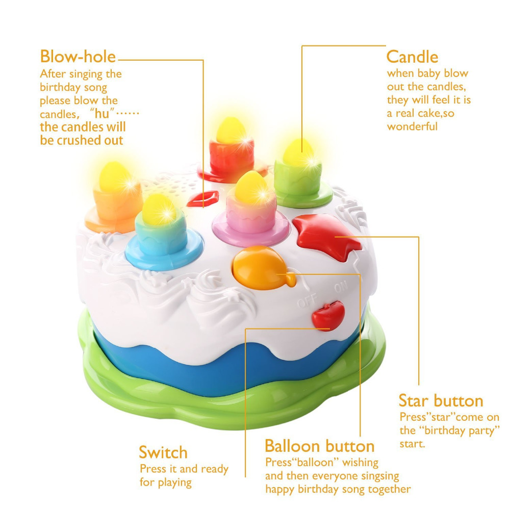 Kitchen Pretend Toy Birthday Cake Toy With Music Lighted Candles
