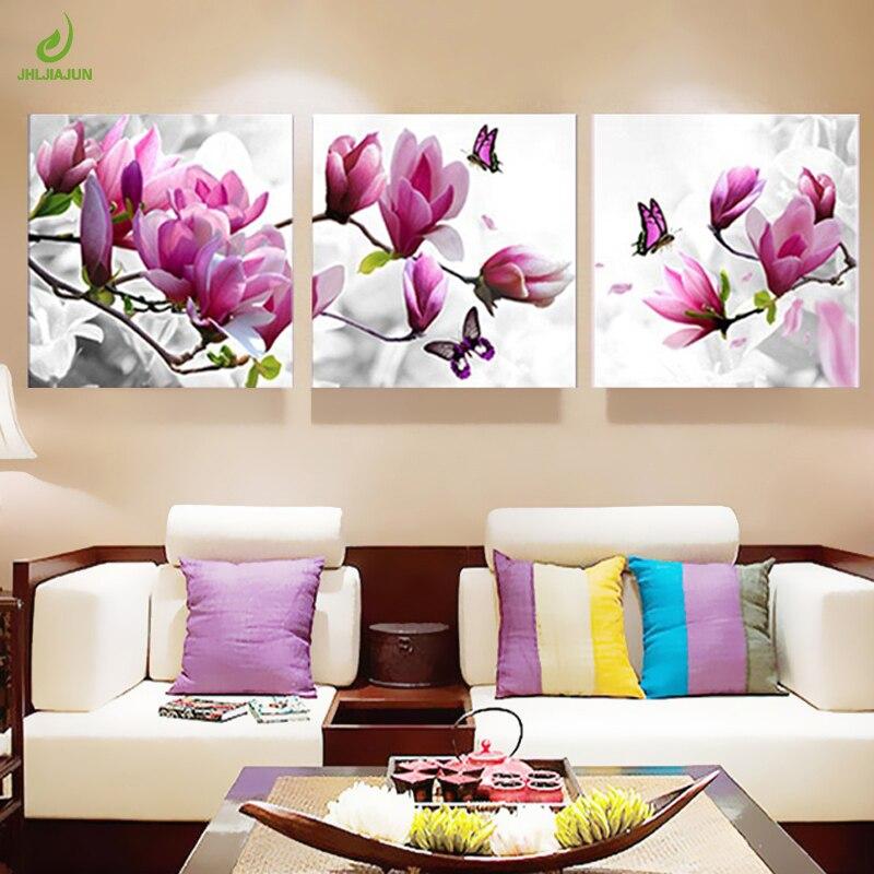 Us 269 55 Offna Płótnie Obrazy Do Kuchni Modułowy Obraz Plakaty Ozdoby Do Dekoracji Pokoju Orchid Nowoczesne Kwiaty 3 Panel ścienny Plakat