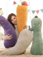 Candice guo! cute plush toy lovely long body vegetable carrot radish eggplant luffa soft stuffed cushion pillow birthday gift 1p