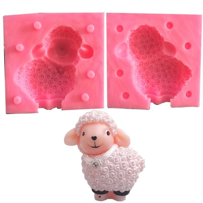 3D Silicona Caliente Pelo Rizado Felpa Ovejas Jabón de resina//Vela//Fondant Pastel Molde Molde