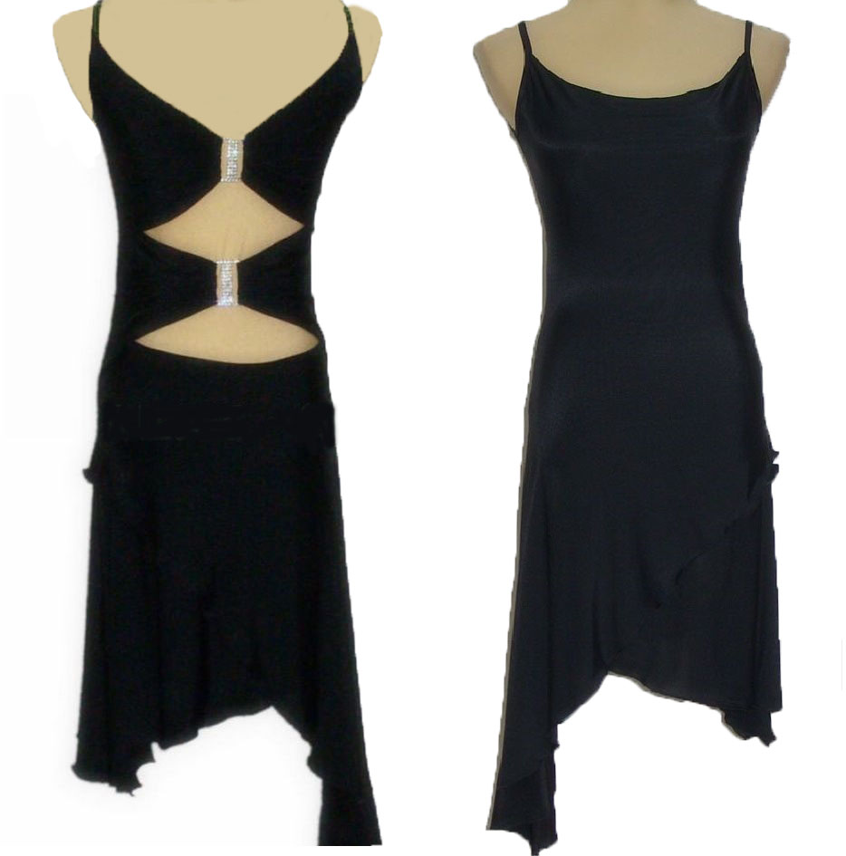 Latin dance dress buckled decorations strap shoulder practice two sling Halter Latin dress W11024