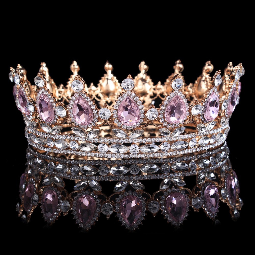 Hot sale New Fashion Elegant Pink Crystal Bridal crown classic Gold Tiaras for Women Wedding hair